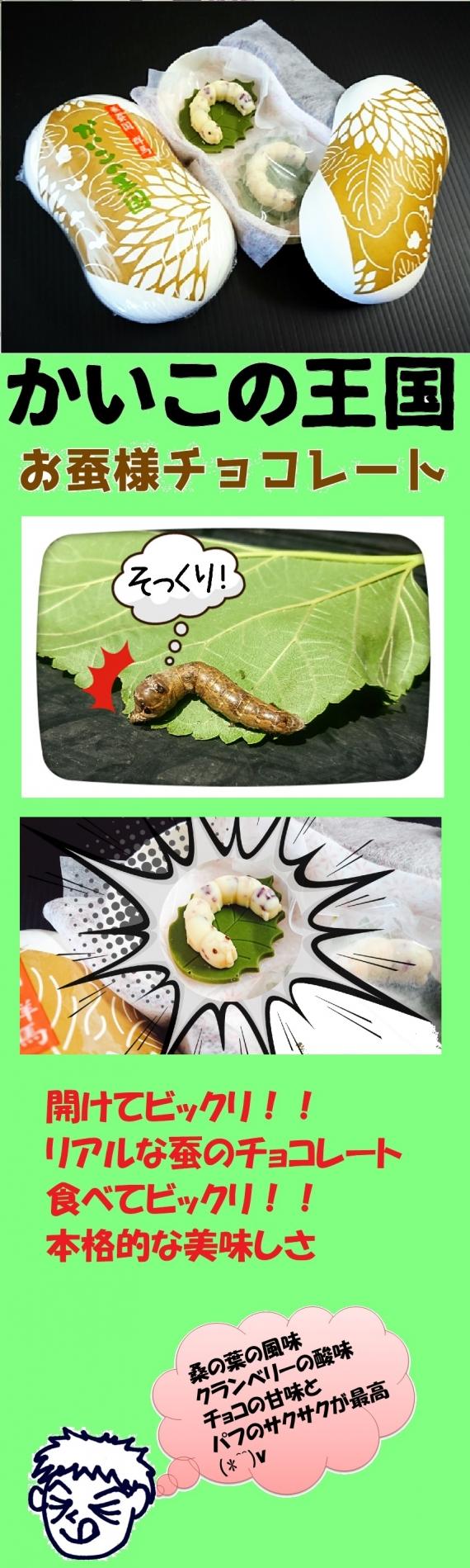 <47CLUB> 桑葉チョコ?!桑の葉に乗ったお蚕様チョコレート【かいこの王国】画像