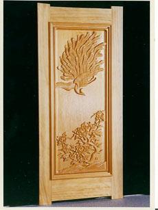 <47CLUB> 彫刻ドア 牡丹に孔雀×あやめ画像