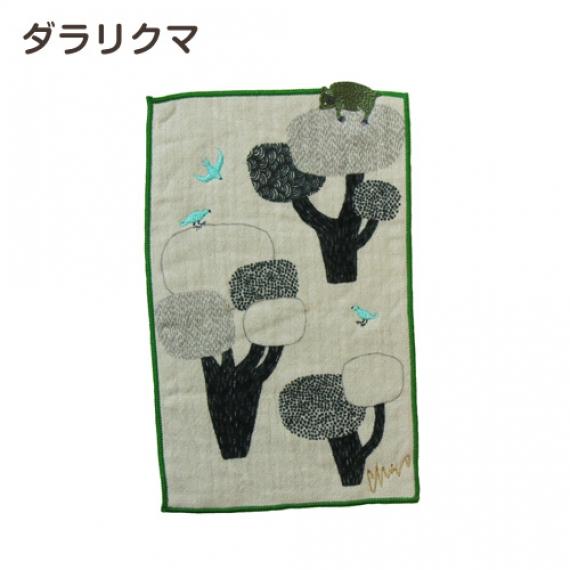 <47CLUB> 【MiW style】ミニタオルハンカチ ダラリクマ/グリーン【生活用品・工芸品】画像