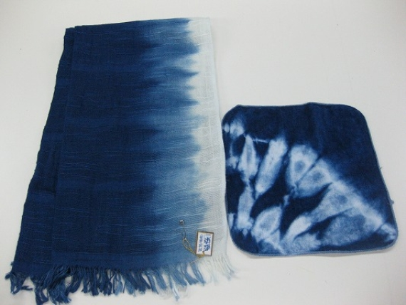 <47CLUB> 藍染かわり織ストール・タオルハンカチセット画像