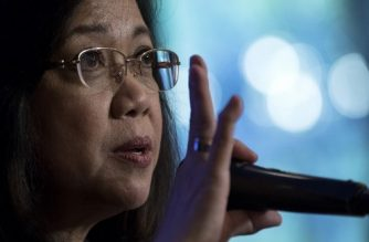 "(File photo) Philippine's Chief Justice Maria Lourdes Sereno gestures as she answers a question during the Foreign Correspondents Association of the Philippines (FOCAP) forum in Manila on March 9, 2018. The Philippine Supreme Court chief justice vowed to fight ""bullying"" and save judicial independence as President Rodrigo Duterte's congressional allies launched an impeachment process March 8 to remove her from office. / AFP PHOTO / NOEL CELIS"