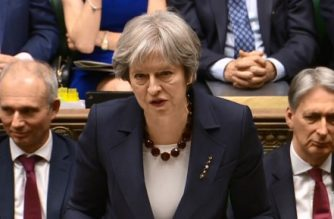 """A video grab from footage broadcast by the UK Parliament's Parliamentary Recording Unit (PRU) shows Britain's Prime Minister Theresa May making a statement on Britain's response to a March 4 nerve attack on a former Russian double agent, following a meeting of Britain's National Security Council, in the House of Commons in central London on March 14, 2018   / AFP PHOTO / PRU AND AFP PHOTO / HO / RESTRICTED TO EDITORIAL USE - MANDATORY CREDIT """" AFP PHOTO / PRU """" - NO USE FOR ENTERTAINMENT, SATIRICAL, MARKETING OR ADVERTISING CAMPAIGNS"""
