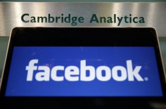 (File photo) A laptop showing the Facebook logo is held alongside a Cambridge Analytica sign at the entrance to the building housing the offices of Cambridge Analytica, in central London on March 21, 2018.  Facebook expressed outrage over the misuse of its data as Cambridge Analytica, the British firm at the centre of a major scandal rocking the social media giant, suspended its chief executive.  / AFP PHOTO / Daniel LEAL-OLIVAS