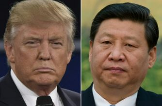 """(COMBO) This combination of pictures created on April 04, 2017 shows US President Donald Trump in St. Louis, Missouri on October 9, 2016 and China's leader Xi Jinping in Beijing on December 5, 2012.  The first summit between US President Donald Trump and his Chinese counterpart Xi Jinping will be of """"great significance"""" for global peace, the two countries' top diplomats agreed ahead of the meeting in Florida this week. / AFP PHOTO / Paul J. Richards AND Ed Jones"""