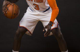 WHITE PLAINS, NY - SEPTEMBER 25: Tim Hardaway Jr. #3 of the New York Knicks is photographed at New York Knicks Media Day on September 25, 2017 in Greenburgh, New York.   Jeff Zelevansky/Getty Images/AFP