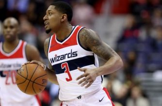 WASHINGTON, DC - JANUARY 10: Bradley Beal #3 of the Washington Wizards dribbles the ball against the Utah Jazz at Capital One Arena on January 10, 2018 in Washington, DC. NOTE TO USER: User expressly acknowledges and agrees that, by downloading and or using this photograph, User is consenting to the terms and conditions of the Getty Images License Agreement.   Rob Carr/Getty Images/AFP