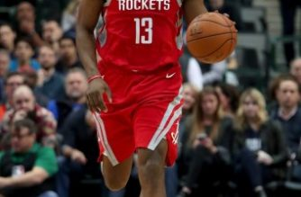 DALLAS, TX - JANUARY 24: James Harden #13 of the Houston Rockets dribbles the ball against the Dallas Mavericks at American Airlines Center on January 24, 2018 in Dallas, Texas. NOTE TO USER: User expressly acknowledges and agrees that, by downloading and or using this photograph, User is consenting to the terms and conditions of the Getty Images License Agreement.   Tom Pennington/Getty Images/AFP