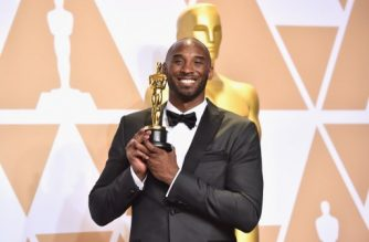 HOLLYWOOD, CA - MARCH 04: Filmmaker Kobe Bryant, winner of the Best Animated Short Film award for 'Dear Basketball,' poses in the press room during the 90th Annual Academy Awards at Hollywood & Highland Center on March 4, 2018 in Hollywood, California.   Alberto E. Rodriguez/Getty Images/AFP