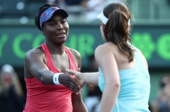 KEY BISCAYNE, FL - MARCH 26: Venus Williams meets Johanna Konta of Great Britain at the net after defeating her during Day 8 of the Miami Open at the Crandon Park Tennis Center on March 26, 2018 in Key Biscayne, Florida.   Al Bello/Getty Images/AFP