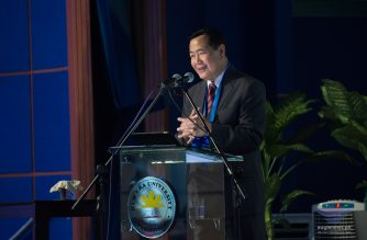 Supreme Court Acting Chief Justice Antonio T. Carpio delivered a lecture on the West Philippine Sea at the New Era University Hall on Friday, March 9, 2018.  (Photo by NEU Multimedia Office - Studio 125)  Eagle News Service