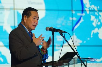 Supreme Court Acting Chief Justice Antonio T. Carpio gestures as he delivered a lecture on the West Philippine Sea at the New Era University Hall on Friday, March 9, 2018.  (Photo by NEU Multimedia Office - Studio 125)