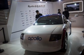 "A driverless car named ""Apollo"" is displayed at the annual Baidu World Technology Conference in Beijing on November 16, 2017. / AFP PHOTO / FRED DUFOUR"