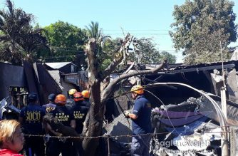 Bulacan fire officers at the scene of the plane crash in Lumang Bayan, Plaridel, Bulacan where five members of a household and all five of the plane's passengers were killed on Saturday, March 17, 2018.  (Photo by Bryan Santiago/Eagle News Service)