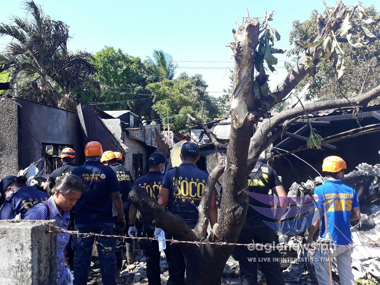 In photos:  Scenes at the site of a plane crash in Bulacan where 10 people were killed