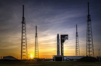 "This NASA photo released on March 1, 2018 shows the Geostationary Operational Environmental Satellite (GOES-S) satellite as it sits on the launch pad at Space Launch Complex 41, Cape Canaveral Air Force Station, backdropped by the setting Sun on February 28, 2018.  The National Oceanic and Atmospheric Administration's (NOAA's) GOES-S is slated to lift off on March 1 aboard a United Launch Alliance Atlas V rocket, during a two-hour launch window beginning at 5:02 p.m. EST.GOES-S is the latest in a series of advanced weather satellites for NOAA. / AFP PHOTO / NASA / Handout / RESTRICTED TO EDITORIAL USE - MANDATORY CREDIT ""AFP PHOTO / NASA/CHRIS GIERSCH/HANDOUT"" - NO MARKETING NO ADVERTISING CAMPAIGNS - DISTRIBUTED AS A SERVICE TO CLIENTS"