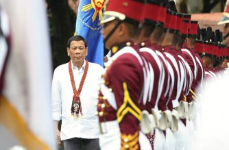 President Rodrigo Duterte walks past honor guards upon his arrival at the Philippine National Police Academy (PNPA) Grandstand of Camp General Mariano N. Castañeda in Silang, Cavite for his attendance to the PNPA 'Maragtas' Class of 2018 commencement exercises on March 21, 2018. TOTO LOZANO/PRESIDENTIAL PHOTO