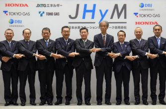 Japan H2 Mobility President Hideki Sugawara (5th L) and representatives of its joint establishment companies hold hands during a photo session after their joint press conference in Tokyo on March 5, 2018. The below-mentioned 11 companies announced joint establishment of Japan H2 Mobility (JHyM) aimed at the full-fledged development of hydrogen stations for fuel cell vehicles (FCV) in Japan.  / AFP PHOTO / Kazuhiro NOGI
