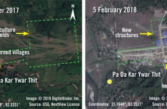 """(COMBO) This handout combination image of two satellite photographs released by Amnesty International and DigitalGlobe on March 12, 2018 shows before and after images taken on September 6, 2017 and February 5, 2018 of new structures and helipads being built over agricultural fields in the village of Pa Da Kar Ywar Thit in Myanmar's Rakhine State. Myanmar is building security installations on top of razed Rohingya villages, Amnesty International said March 12, 2018, casting doubt on the country's plans to repatriate hundreds of thousands of refugees. MANDATORY CREDIT: AFP PHOTO / AMNESTY INTERNATIONAL / DIGITALGLOBE / AFP PHOTO / Amnesty International / DigitalGlobe / Handout / RESTRICTED TO EDITORIAL USE - MANDATORY CREDIT """"AFP PHOTO / AMNESTY INTERNATIONAL / DIGITALGLOBE"""" - NO MARKETING NO ADVERTISING CAMPAIGNS - DISTRIBUTED AS A SERVICE TO CLIENTS == NO ARCHIVE"""