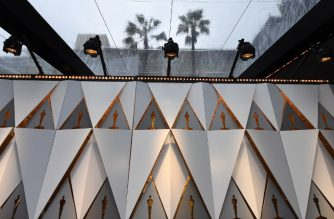 Backdrops on the red carpet are protected by plastic sheeting during heavy rain in Hollywood, California, on March 2, 2018. The 90th Academy Awards will take place on March 4, 2018. / AFP PHOTO / Mark Ralston