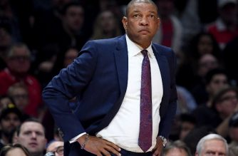 Doc Rivers of the LA Clippers watches play during a 116-102 win over the Cleveland Cavaliers at Staples Center on March 9, 2018 in Los Angeles, California.   Harry How/Getty Images/AFP