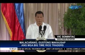 """President Duterte invites country's big rice traders to """"have coffee"""" with him to discuss rice supply situation"""