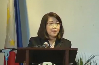 """Chief Justice Maria Lourdes Sereno speaks before students of St. Scholastica's College in a forum called """"Laban ng Kababaihan, Laban ng Bayan: In Defense of Women, Ethical Governance and Sovereignty"""" on March 7,2018."""