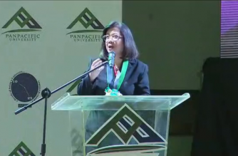 Chief Justice Maria Lourdes Sereno speaks in a forum at Panpacific University in Pangasinan on Friday, March 9, 2018.