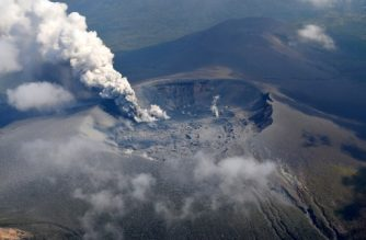 "This handout from the Japan Meteorological Agency, Fukuoka Regional Headquarters taken and released on October 11, 2017 shows a plume of smoke rising from the crater of Mount Shinmoedake in the Kirishima mountain range of Kagoshima prefecture on Japan's southern island of Kyushu.  Mount Shinmoedake in southern Japan erupted for the first time in six years on October 11, shooting a plume of ash several hundred metres into the air and sparking warnings to local residents. / AFP PHOTO / JAPAN METEOROLOGICAL AGENCY, FUKUOKA REGIONAL HEADQUARTERS / STR /  - Japan OUT / RESTRICTED TO EDITORIAL USE - MANDATORY CREDIT ""AFP PHOTO/Japan Meteorological Agency, Fukuoka Regional Headquarters"" - NO MARKETING NO ADVERTISING CAMPAIGNS - DISTRIBUTED AS A SERVICE TO CLIENTS"