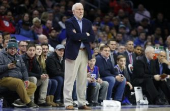 PHILADELPHIA, PA - JANUARY 3: Head coach Gregg Popovich of the San Antonio Spurs follows the game against the Philadelphia 76ers in the first half at Wells Fargo Center on January 3, 2018 in Philadelphia, Pennsylvania. NOTE TO USER: User expressly acknowledges and agrees that, by downloading and or using this photograph, User is consenting to the terms and conditions of the Getty Images License Agreement.   Rob Carr/Getty Images/AFP
