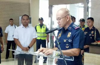Police Director General Oscar Albayalde speaks during his first press conference as the new Philippine National Police chief on Friday, April 20./Mar Gabriel/Eagle News Service/