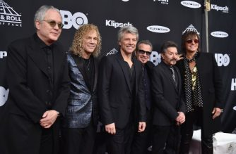 Inductees Hugh McDonald, David Bryan, Jon Bon Jovi, Tico Torres, Alec John Such and Richie Sambora of Bon Jovi attend the 33rd Annual Rock & Roll Hall of Fame Induction Ceremony at Public Auditorium on April 14, 2018 in Cleveland, Ohio.   Theo Wargo/Getty Images For The Rock and Roll Hall of Fame/AFP