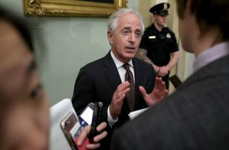 Senate Foreign Relations Committee Chairman Bob Corker (R-TN) talks with reporters before stepping into the weekly Republican policy luncheon at the U.S. Capitol April 17, 2018 in Washington, DC.  Chip Somodevilla/Getty Images/AFP