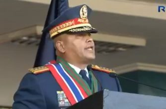 "Retiring Philippine National Police chief Director General Ronald ""Bato"" Dela Rosa during the turn-over ceremonies in Camp Crame, Quezon City.  (Photo grabbed from RTVM)"