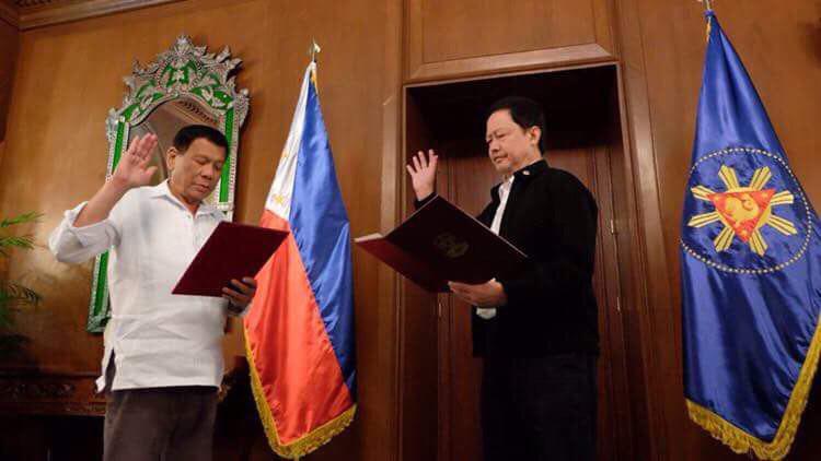 "President Duterte swears in Guevarra as new DOJ chief, tells him to ""clean"" DOJ"