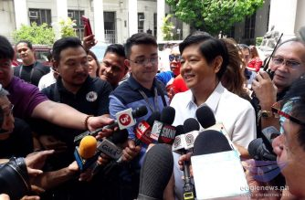 "(File photo) Former Senator Ferdinand ""Bongbong"" Marcos Jr., expresses concern about wet ballots and missing audit logs at the start of the manual recount on Monday, April 2, 2018.  The next day, four head revisors quit the manual recount, a development which he said was disconcerting.  (Photo by Moira Encina, Eagle News Service)"