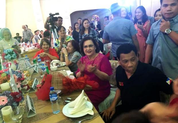 LOOK: President Duterte attends Elizabeth Zimmerman's 70th birthday celebration