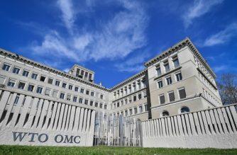 The World Trade Organization (WTO) headquarters are seen in Geneva on April 12, 2018. / AFP Photo / Fabrice Coffrini