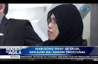 Inabusong Pilipina sa Saudi, nakauwi na; makikipagkita kay Pangulong Duterte bukas