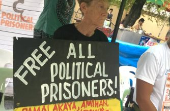 Australian nun Patricia Fox participates in a protest as seen in this picture posted by militant fisherfolk group Pamalakaya.