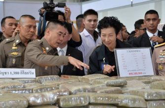 """This handout picture taken and released on April 3, 2018 by the Royal Thai Police Royal shows national police chief General Chaktip Chaijinda (front L) and head of the Narcotics Litigation Department, Chaninya Chaisuvan (front R), inspecting a cache of seized illegal drugs during a press conference in Bangkok. Thai authorities seized the massive methamphetamine haul near the Laotian border, officials said on April 3, highlighting the kingdom's role as a pipeline for drugs flooding through Southeast Asia. / AFP PHOTO / Royal Thai Police / Handout / -----EDITORS NOTE --- RESTRICTED TO EDITORIAL USE - MANDATORY CREDIT """"AFP PHOTO / ROYAL THAI POLICE"""" - NO MARKETING - NO ADVERTISING CAMPAIGNS - DISTRIBUTED AS A SERVICE TO CLIENTS"""