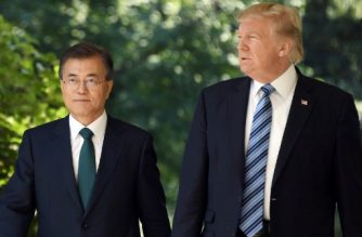(FILES) In this file photo taken on June 30, 2017, South Korean President Moon Jae-in (L) and US President Donald Trump arrive to give a joint press conference in the Rose Garden at the White House in Washington, DC. / AFP Photo / Jim Watson