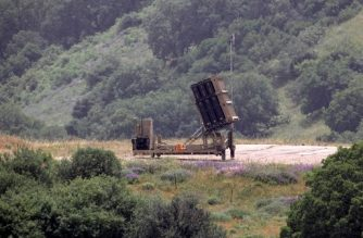 This picture taken on May 7, 2018, shows an Israeli Iron Dome defence system, designed to intercept and destroy incoming short-range rockets and artillery shells, deployed in the Israeli-annexed Golan Heights near the border with Syria. / AFP PHOTO / JALAA MAREY