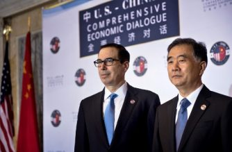 (FILES) In this file photo taken on July 19, 2017, US Treasury Secretary Steven Mnuchin (L) and Chinese Vice Premier Wang Yang pose for a photo before an opening session at a US and China comprehensive Economic Dialogue at the US Department of the Treasury in Washington, DC. US Treasury Secretary Steven Mnuchin confirmed on May 20, 2018, that Washington and Beijing had agreed to back off from imposing tariffs on each other, a day after reaching an accord on slashing the American trade deficit with China.  / AFP PHOTO / Brendan Smialowski