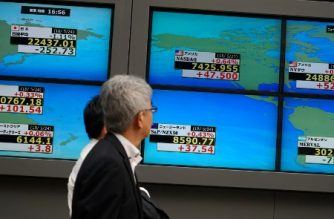 Pedestrians walk past a stock indicator showing numbers of the world stock market, including the Tokyo Stock Exchange (top, L) and US NASDAQ (top, C) and New York Dow Jones (top, R), in Tokyo on May 24, 2018.  Tokyo's benchmark Nikkei index fell for the third consecutive session on May 24, with automakers battered by news that Washington was considering possible tariffs on automobile imports. / AFP PHOTO / Kazuhiro NOGI