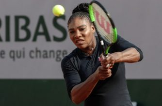 US Serena Williams returns a shot during a training session at the Roland Garros stadium on May 25, 2018 in Paris, ahead of 2018 French Open tennis tournament.  / AFP PHOTO / Thomas SAMSON