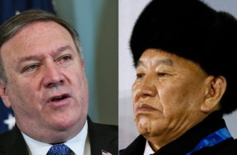 (COMBO) This combination of file pictures created on May 29, 2018, shows US Secretary of State Mike Pompeo (L) in Washington, DC on May 29, 2018; and Vice Chairman of North Korea's ruling Workers' Party Central Committee Kim Yong Chol in Pyeongchang on February 25, 2018.  Pompeo will meet in New York this week Kim amid intensifying US-North Korean summit preparations, the White House said on May 29, 2018. / AFP PHOTO / AFP PHOTO AND POOL / Mandel NGAN AND Patrick Semansky