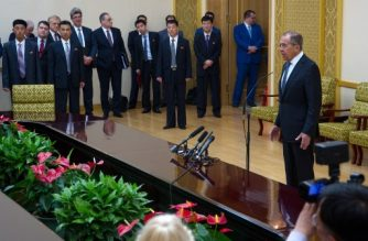 Russia's Foreign Minister Sergei Lavrov (R) attends a press conference at the Mansudae Assembly Hall in Pyongyang on May 31, 2018.  Russian Foreign Minister Sergei Lavrov arrived in Pyongyang on May 31, North Korea's state media said, ahead of a landmark summit between Donald Trump and North Korean leader Kim Jong Un. / AFP PHOTO / KIM Won-Jin