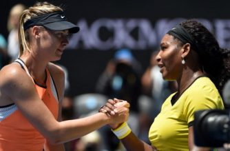 Serena Williams of the US (R) shakes hands with Russia's Maria Sharapova after winning their women's singles match on day nine of the 2016 Australian Open tennis tournament in Melbourne on January 26, 2016. AFP PHOTO / SAEED KHAN --  IMAGE RESTRICTED TO EDITORIAL USE - STRICTLY NO COMMERCIAL USE / AFP PHOTO / SAEED KHAN