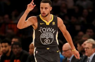 NEW YORK, NY - FEBRUARY 26: Stephen Curry #30 of the Golden State Warriors celebrates his three point shot in the second half against the New York Knicks at Madison Square Garden on February 26, 2018 in New York City. NOTE TO USER: User expressly acknowledges and agrees that, by downloading and or using this Photograph, user is consenting to the terms and conditions of the Getty Images License Agreement   Elsa/Getty Images/AFP