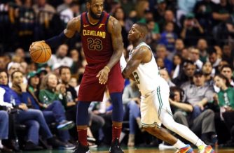 BOSTON, MA - MAY 13: LeBron James #23 of the Cleveland Cavaliers is defended by Terry Rozier #12 of the Boston Celtics during the third quarter in Game One of the Eastern Conference Finals of the 2018 NBA Playoffs at TD Garden on May 13, 2018 in Boston, Massachusetts.   Maddie Meyer/Getty Images/AFP